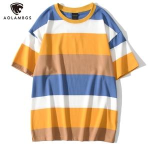 Aolamegs T Shirt Men Hit Color Block Striped Printed Men's Tee Shirts Summer Loose Short Sleeve Tops Simple Harajuku Streetwear