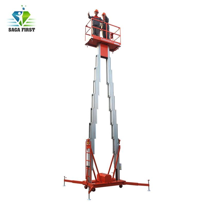 Double mast aluminium lift platform/aluminium aerial work platform for sale