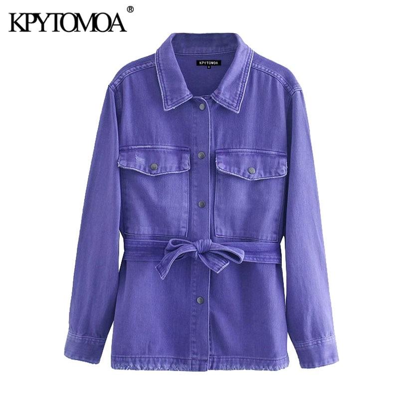 KPYTOMOA-جاكيت دنيم عتيق بأكمام طويلة مع حزام للنساء ، ملابس خارجية أنيقة وعصرية ، 2020
