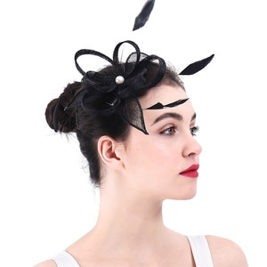 Bride Wedding Black Fascinator Headwear Sinamay With Feather Hair Accessories For Party Hats Wedding Occasion Hairstyle