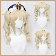 Genshin Impact Barbara Wig Cosplay Pale Blonde Long Curly Twin Ponytails Heat Resistant Hair Adult H