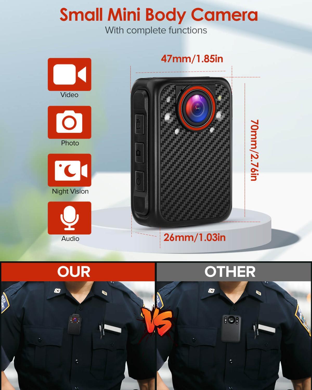 BOBLOV X1 Bodycam 1080P Portable Police Body Camera Support 128GB Night Vision Worn Security Camara Mini Camcorders enlarge