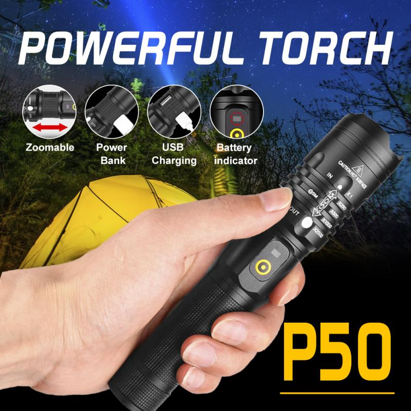Linterna potente P50, linterna de trabajo con 3 modos de zoom, linterna portátil, pluma, lámpara con Clip, luz de bolsillo, carga USB