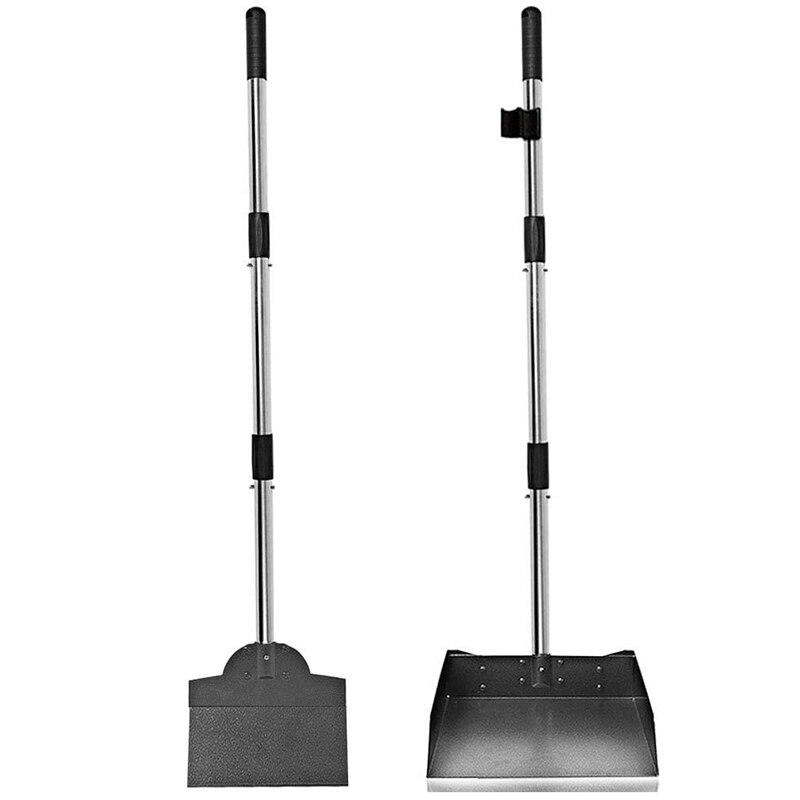 Palé y Kit de palas, palé de acero inoxidable de mango largo ajustable y pala de estiércol, con contenedor de basura