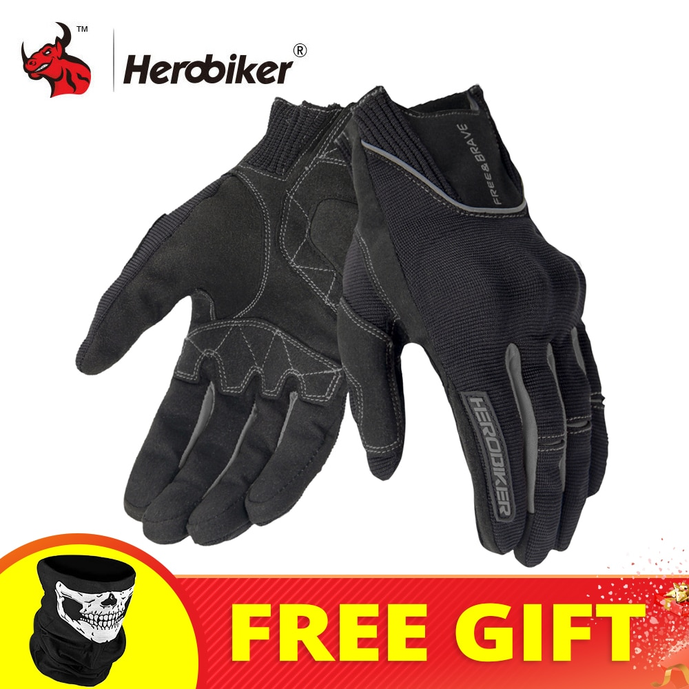HEROBIKER Motorcycle Gloves Summer Motorbike Cycling Gloves Full Finger Guantes Moto Comfortable Motocross Gloves Touch Screen