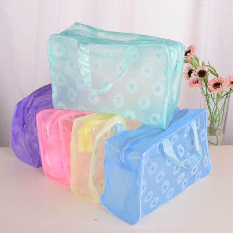 Bolsa de maquillaje portátil a la moda, neceser de viaje para mujer, neceser de baño transparente, almacenamiento personal