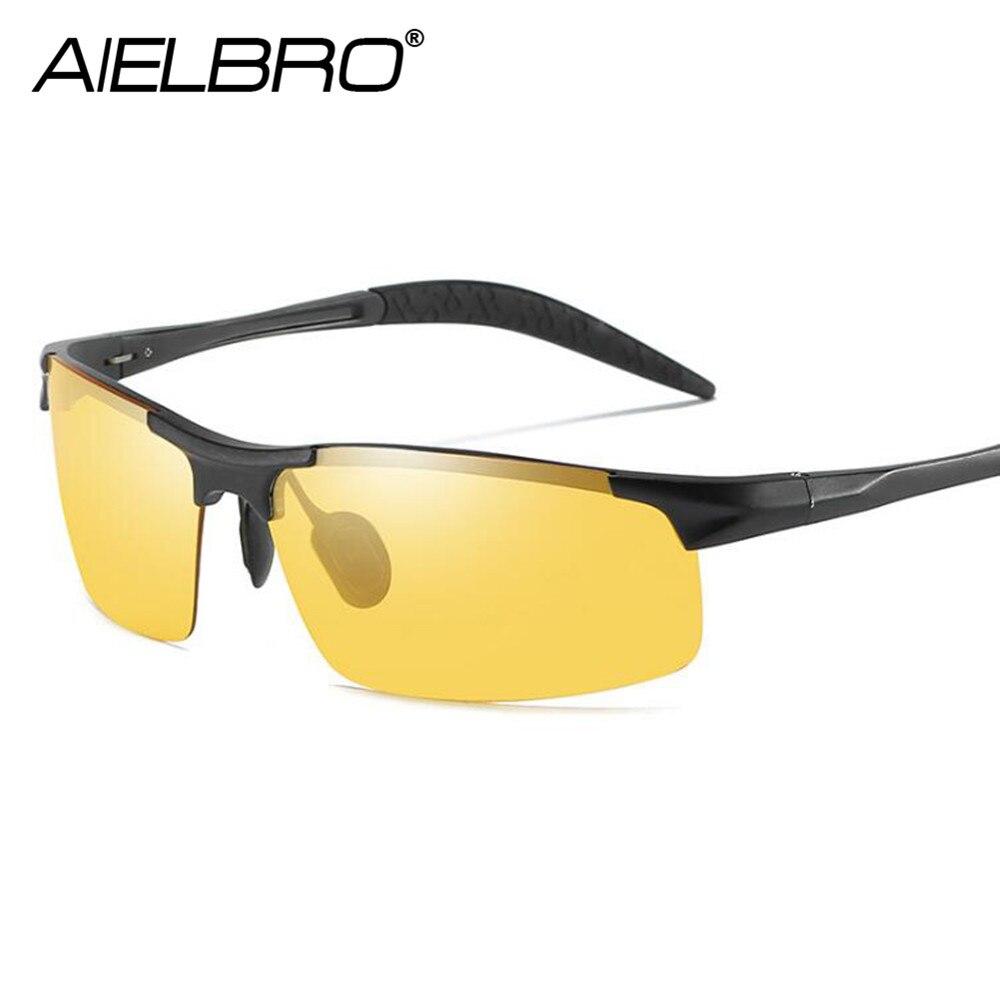 Dropshipping alumínio magnésio qualidade óculos de visão noturna polarizados dos homens marca designer amarelo lente condução ciclismo