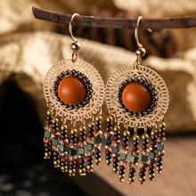 Bohemian Boho Ethnic Resin Metal Tassel Dangle Hanging Suspension Drop Earrings For Women Females Wedding Jewelry Accessories