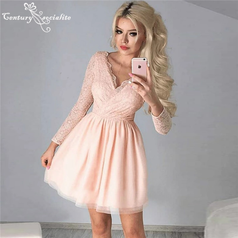Blush Pink Homecoming Dresses Short V-Neck Lace Tulle Long Sleeve Mini Graduation Party Gowns Cocktail Dress Prom Dress Cheap