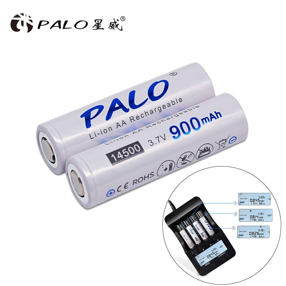 PALO 2-16pcs 14500 900mAh 3.7V Li-Ion Batterie Ricaricabili AA Batteria Batteria Al Litio per la Torcia Elettrica Led fari Torcia Mouse