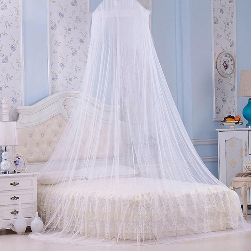 Nova casa branca cama de renda rede dossel circular mosquito net mosquitos malla de mosquito