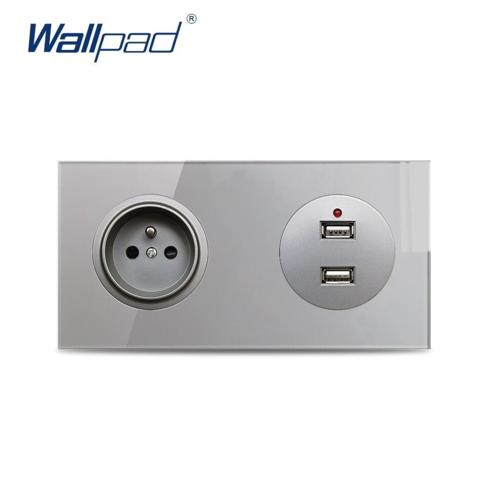 Wallpad-مقبس حائط كهربائي فرنسي ، منفذ شحن USB مزدوج ، لوح زجاجي مقوى رمادي كريستالي 2.1A