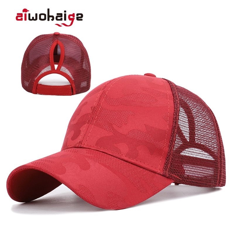 Trendy Women's Ponytail Baseball Cap Women Snapback Summer Mesh Hat Female Fashion HIp Hop Hats Casual Adjustable Outdoor Bone new 2021high quality unisex women men baseball cap cartoon embroidery bone snapback hat summer outdoor adjustable hip hop hats