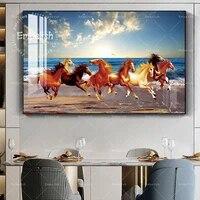 Affiche moderne animaux  cheval  peinture sur toile Orange  images murales pour salon  chambre a coucher  galerie dentree  decoration de maison de haute qualite