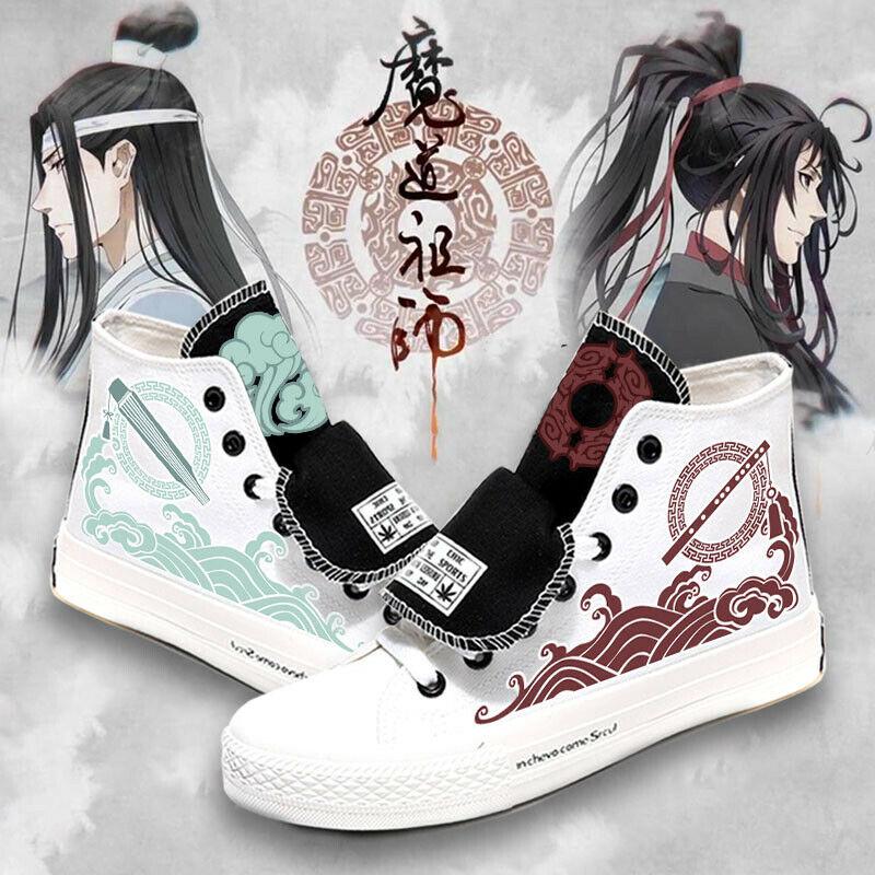Anime Grandmaster of Demonic Cultivation Cosplay Lan WangJi Wei WuXian Women Canvas Sneakers Men High Shoes