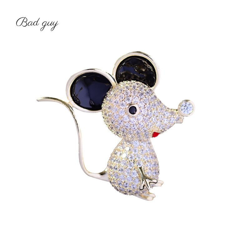 Bad Guy Zircon Brooches for Women's Mouse Brooches Pins Fashion Pins Accessories for Clothes Decoration Brooch Medical Cute Pins