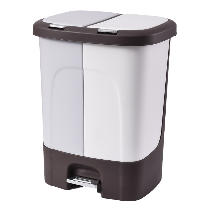 Japanese Grey Kitchen Square Trash Can Cover Trash Sorting Waste Bin Recycling Office Accessories Poubelle Garbage Bin EH50TC enlarge