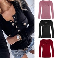 open chest shirt snap button rib knit sexy clothes slim fit bodycon shirt big size 5xl solid color plain shirt women long sleeve