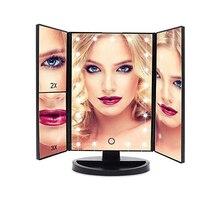 LED pliable miroir cosmétique 22 perle lumière 1X/2X/3X/10X grossissant maquillage écran tactile miroir USB Rechargeable ou batterie