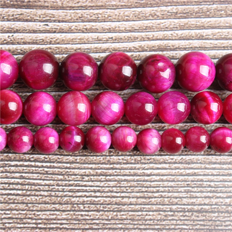 Lanli natural jóias rosa red tiger eye solto grânulo 4/6/8/10/12mm adequado para fazer jóias diy pulseira colar