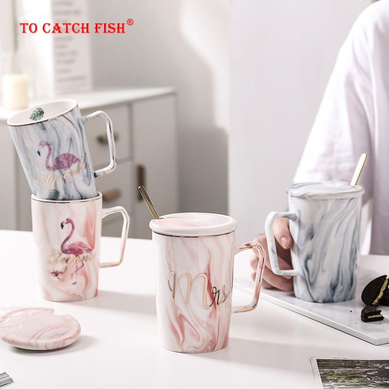 Handgemalte Gold Flamingo Tassen wiht löffel deckel, marmor Porzellan Kaffee Becher Keramik Tee Milch Tasse Dame Sanfte Mann Gedruckt Geschenk