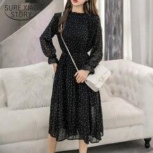 Schwarz Vintage Kleidung Frühling Dame Lange Chiffon Kleid 2019 Neue Koreanische Mode Frauen Lange Ärmeln Polka Dot Plissee Kleid 3670 50