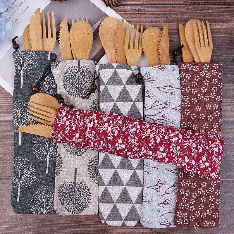 3 unids/bolsa reutilizable Retro cubiertos de bambú de madera cubiertos con bolsas vajilla cuchara palillos chinos juego de vajilla portátil