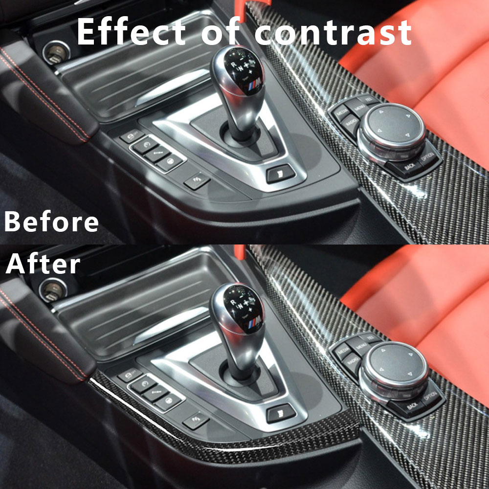 Real Carbon Fiber Car Gear Shift L Shape Strips Trim For BMW F80 F82 F83 M3 M4 2014-2018 LHD Car Styling Accessories enlarge