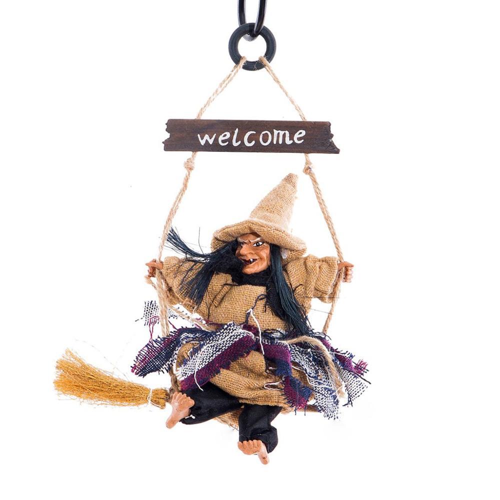 Zz0114, colgante de bruja escoba voladora para Halloween, suministros, Festival fantasma, decoración de Bar, Horror realista
