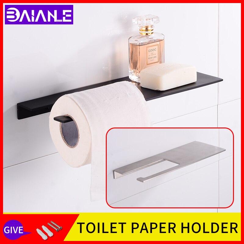 حامل لفافة ورق التواليت من الفولاذ المقاوم للصدأ للحمام ، حامل حائط سميك للمناديل والشامبو ، أسود
