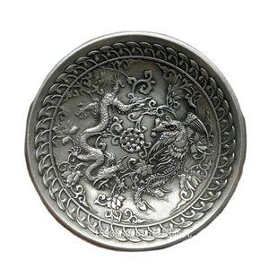 China Folk Tibetan Silver Chinese Dragon Phoenix Plates