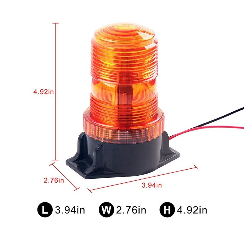 12-30V Tractor Rotation Flashing Light 30 Led Strobe Traffic Warning Light PC Emergency Ratating Safety Alarm Beacon Round Amber