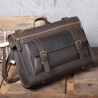 simple retro mens genuine leather briefcase top layer cowhide messenger bag crazy horse leather large capacity shoulder bag