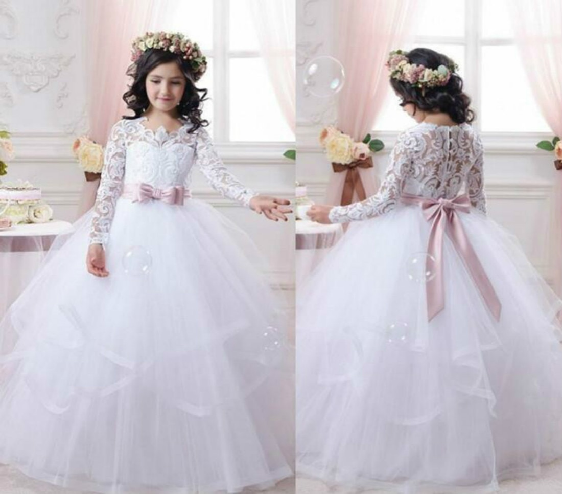 long sleeve flower girl dresses for weddings ball gown tulle lace beaded baby long first communion dresses for little girls Flower Girl Dresses for Weddings Lace Long Sleeve Girls Pageant Dresses First Communion Dress Little Girls Prom Ball Gown