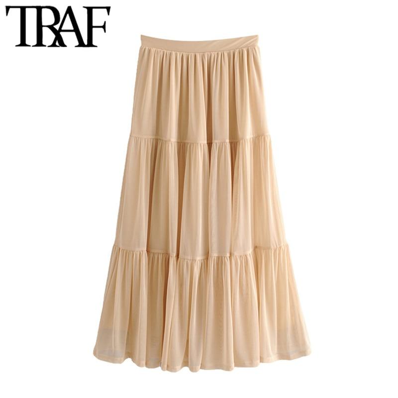 TRAF Falda Midi elegante de tul a la moda para Mujer, falda Vintage de cintura alta elástica con forro para Mujer, Faldas informales para Mujer