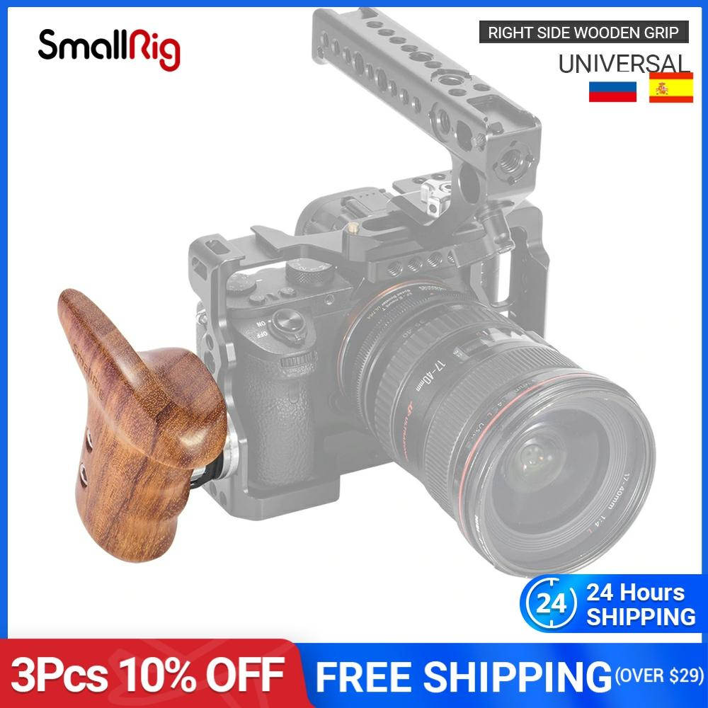 SmallRig الجانب الأيمن مقبض خشبي مع المعري روزيت DSLR عالمية هيكل قفصي الشكل للكاميرا الكتف دعامة لجهاز التثبيت نظام تزوير-1941
