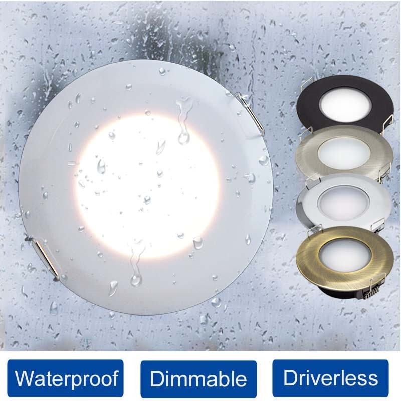Luz descendente LED impermeable, 5W, CA 85V-265V, IP44, lámpara empotrable de techo...