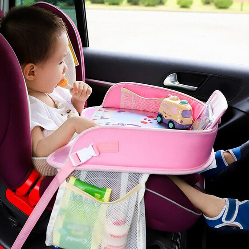 Baby Car Seat Tray Cartoon Stroller Kids Toy Food Water Holder Desk Children Portable Plate Table For Car Child Table Storage