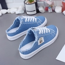 New 2019 Spring Summer Women Canvas Shoes flat sneakers women casual shoes low upper lace up white s