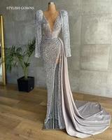 sexy silver deep v neck evening dress beaded lantern sleeve mermaid dresses for women party vestidos elegantes para mujer