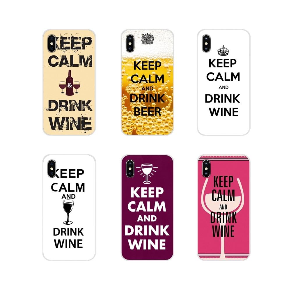 Acessórios capas de telefone para xiaomi redmi 4a s2 nota 3 3s 4 4x 5 plus 6 7 6a pro pocofone f1 manter a calma e beber vinho