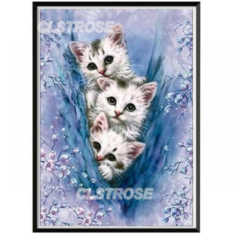 Diy Diamond Painted Kitten In The Arms of The Orange Cat, Rusty Diamonds, Home Decoration Wall Diamonds, Round Diamonds  - buy with discount