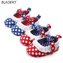 Brand New Fashion Newborn Baby Girl Princess Shoes Bows Dots Soft Sole First Walker Mary Jane Flats