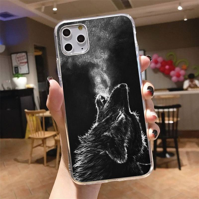 Wolf painting animal Phone Case Transparent for iPhone 6 7 8 11 12 s mini pro X XS XR MAX Plus cover funda shell  - buy with discount