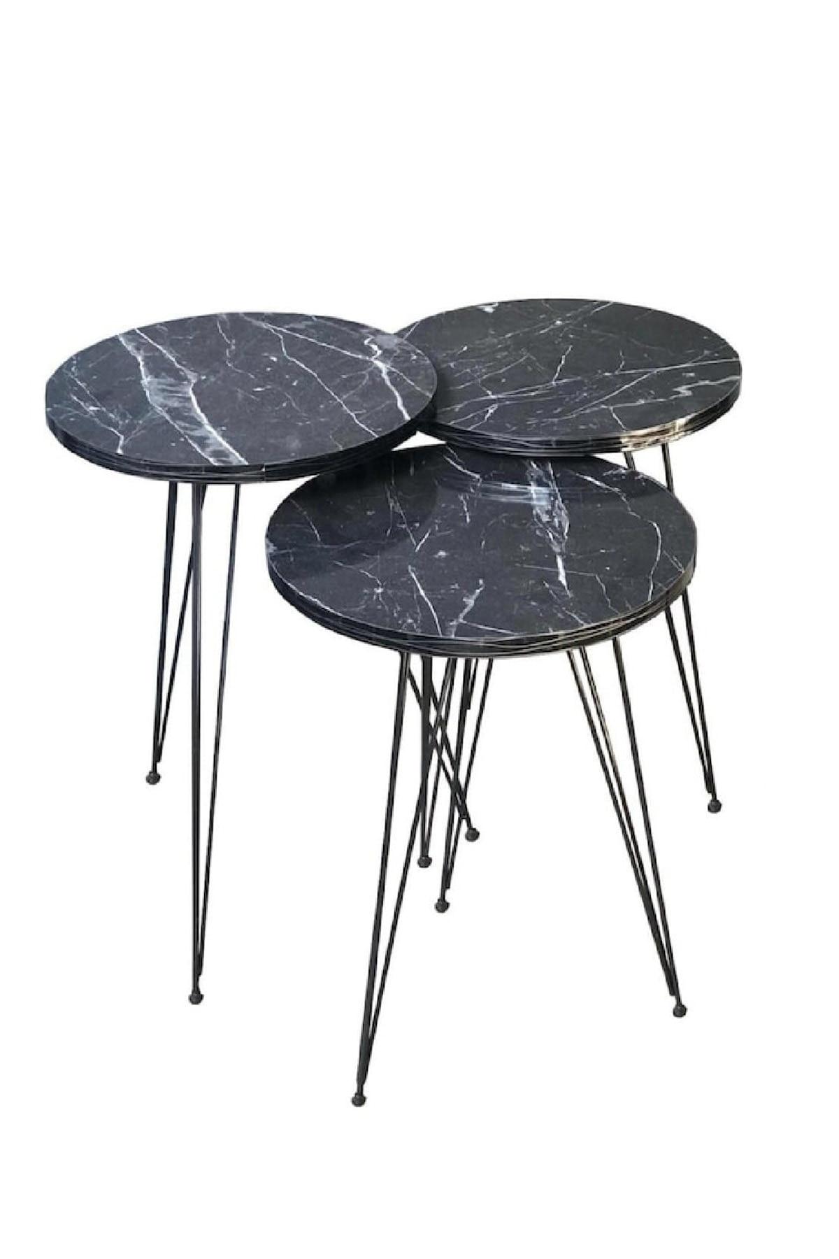 Zigon Sehpa Metal Ayak 3lü Servis Sehpası Siyah Mermer Desen Oturma Odası Moda Dekor Kullanışlı Sunum modern ahşap kahverengi sehpa kahve sehpası çay sehpası meyve masası kanepe yanı oturma odası için mobilya sehpa