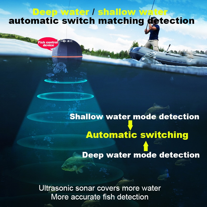 Ling Hui Fish Finder Portable Wireless Sonar 50M/164ft Depth Lake Fish Detect Professional Fish Finder With Attracting Fish lamp enlarge