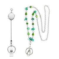beautiful womens fashion beads lanyard retractable badge reel lanyards with id card badge holder stainless steel