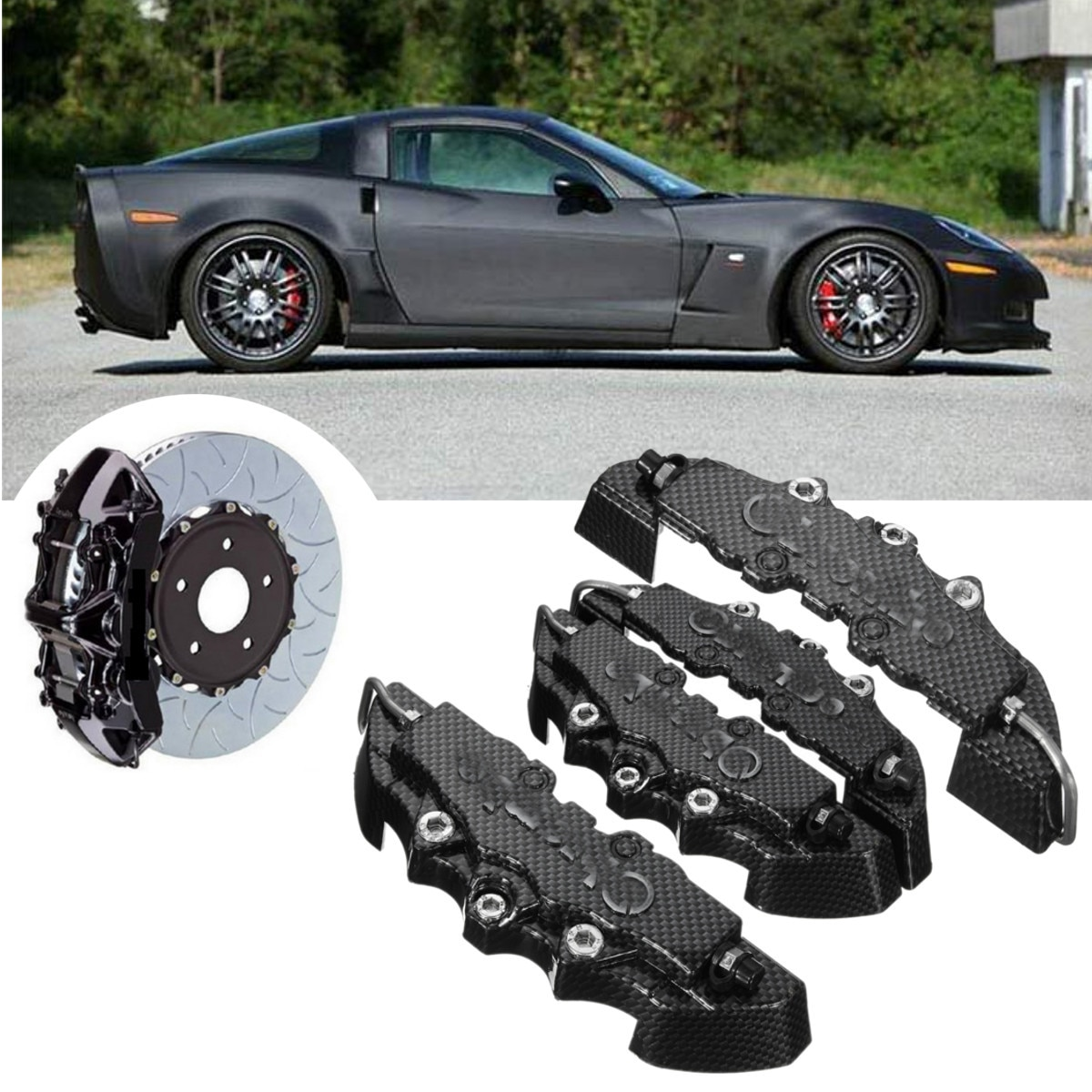 4 pçs abs de alta qualidade frente padrão traseiro universal freio a disco pinça capa com 3d olhar fibra carbono m + s braki