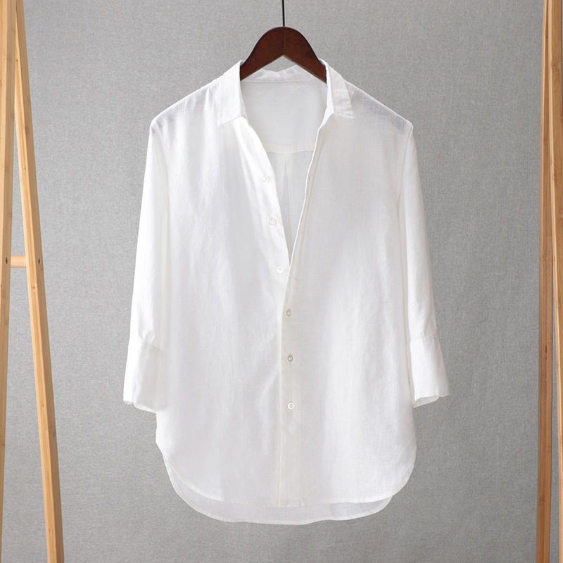Рубашка мужская с воротником-стойкой, свободная сорочка из хлопка и льна, с рукавами средней длины 7/4, в Японскую молодежную полоску, однотон...