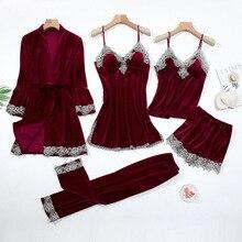 Sexy Lace Nightwear Pajamas Suit Intimate Lingerie Women Velour Sleep Set 5PCS Kimono Robe Velvet So